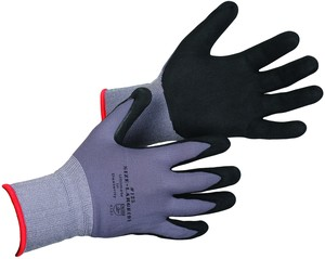Grey Nylon Knit Gloves with Nitrile Grip Coating