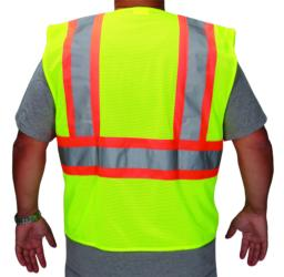 High Visibility Safety Vest ANSI/ISEA Class 2 Retro-Reflective Two-Tone Stripes